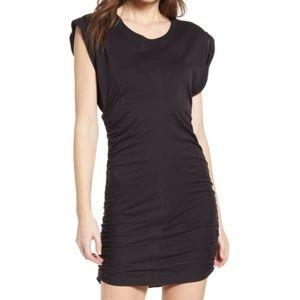 Splendid ruched jersey solid black t-shirt dress